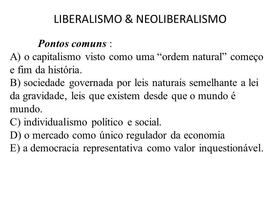 """LIBERALISMO & NEOLIBERALISMO Pontos comuns : A) o capitalismo visto como uma """"ordem natural"""" começo e fim da história. B) sociedade governada por leis"""