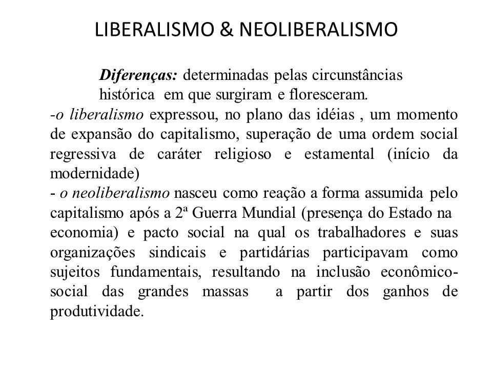 LIBERALISMO & NEOLIBERALISMO Diferenças: determinadas pelas circunstâncias histórica em que surgiram e floresceram. -o liberalismo expressou, no plano