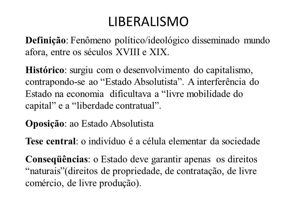 LIBERALISMO Definição: Fenômeno político/ideológico disseminado mundo afora, entre os séculos XVIII e XIX. Histórico: surgiu com o desenvolvimento do