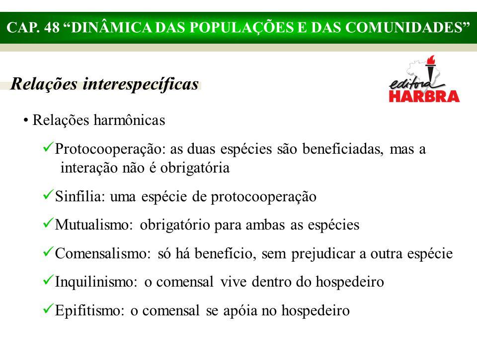 """CAP. 48 """"DINÂMICA DAS POPULAÇÕES E DAS COMUNIDADES"""" Relações interespecíficas Relações harmônicas Protocooperação: as duas espécies são beneficiadas,"""