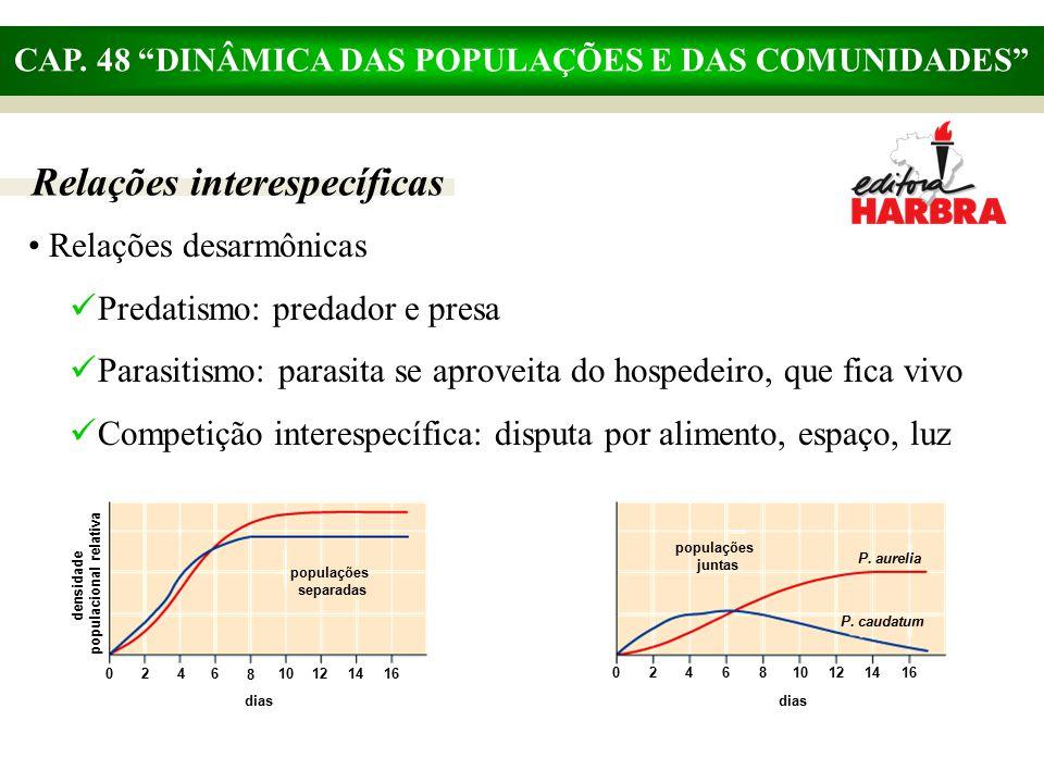 """CAP. 48 """"DINÂMICA DAS POPULAÇÕES E DAS COMUNIDADES"""" Relações interespecíficas Relações desarmônicas Predatismo: predador e presa Parasitismo: parasita"""