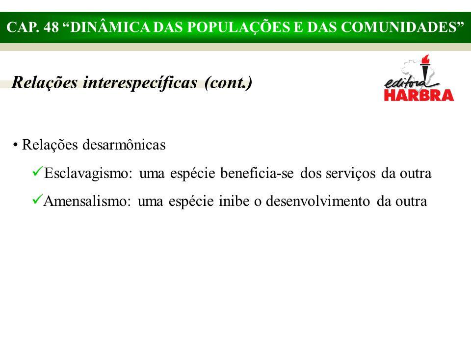"""CAP. 48 """"DINÂMICA DAS POPULAÇÕES E DAS COMUNIDADES"""" Relações interespecíficas (cont.) Relações desarmônicas Esclavagismo: uma espécie beneficia-se dos"""