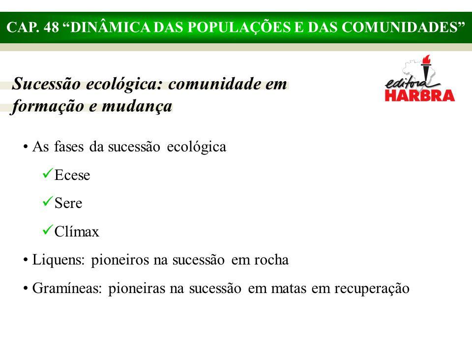"""CAP. 48 """"DINÂMICA DAS POPULAÇÕES E DAS COMUNIDADES"""" Sucessão ecológica: comunidade em formação e mudança As fases da sucessão ecológica Ecese Sere Clí"""