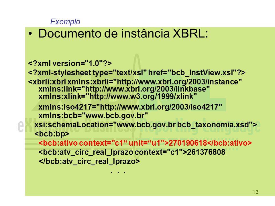 13 Documento de instância XBRL: <xbrli:xbrl xmlns:xbrli=