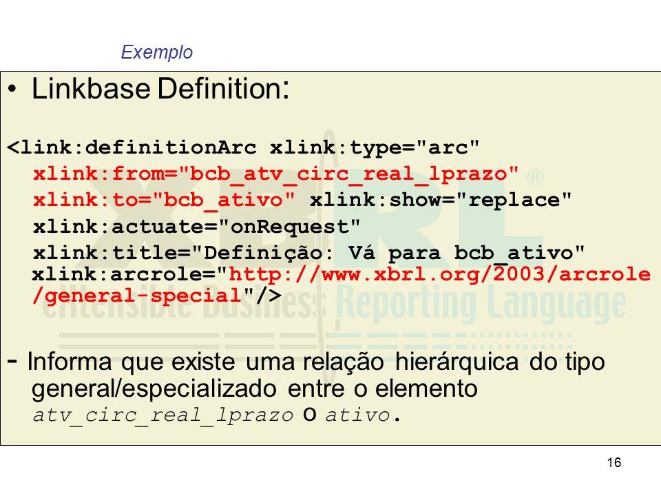 16 Linkbase Definition : <link:definitionArc xlink:type=