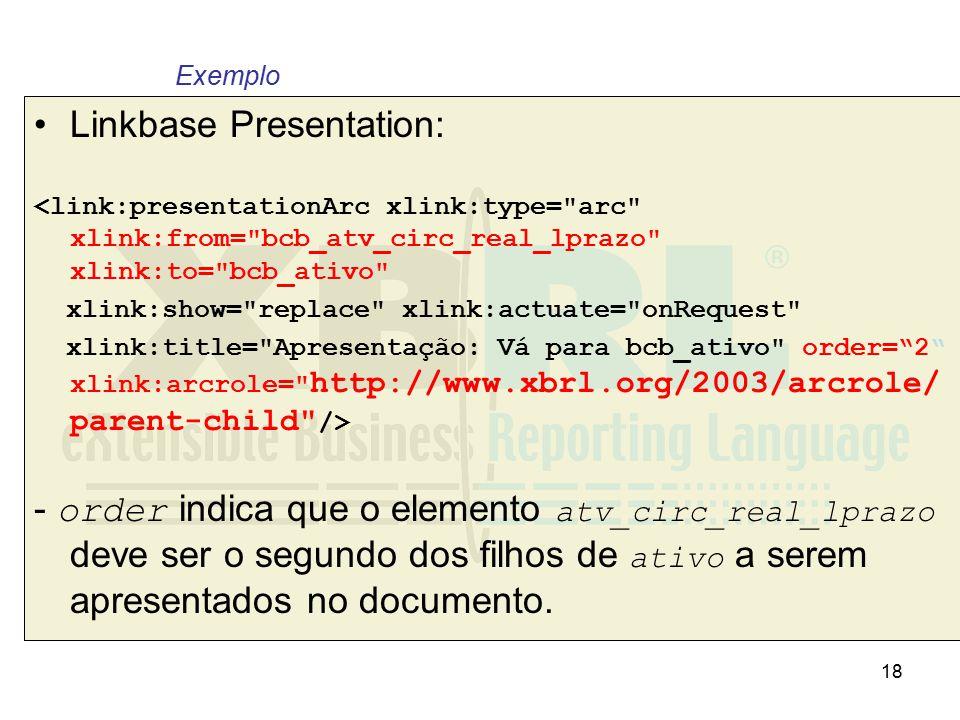 18 Linkbase Presentation: <link:presentationArc xlink:type=