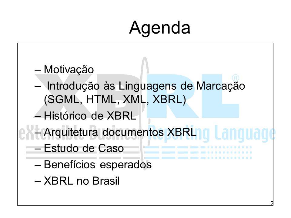 2 –Motivação – Introdução às Linguagens de Marcação (SGML, HTML, XML, XBRL) –Histórico de XBRL –Arquitetura documentos XBRL –Estudo de Caso –Benefício