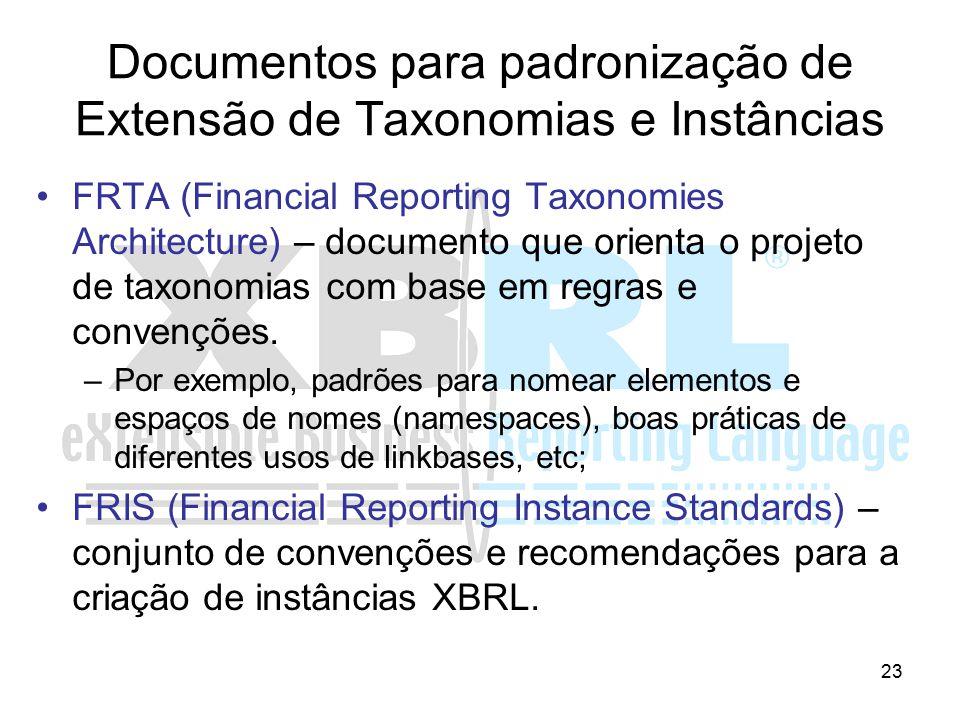 23 Documentos para padronização de Extensão de Taxonomias e Instâncias FRTA (Financial Reporting Taxonomies Architecture) – documento que orienta o pr