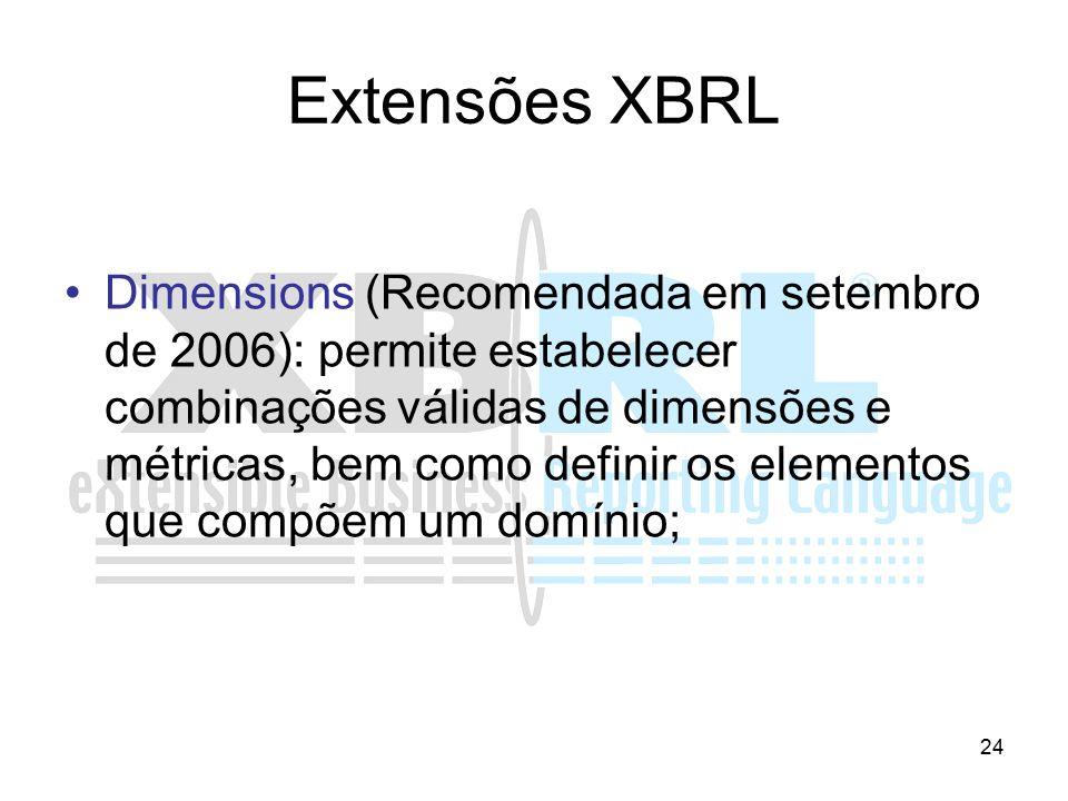24 Extensões XBRL Dimensions (Recomendada em setembro de 2006): permite estabelecer combinações válidas de dimensões e métricas, bem como definir os e