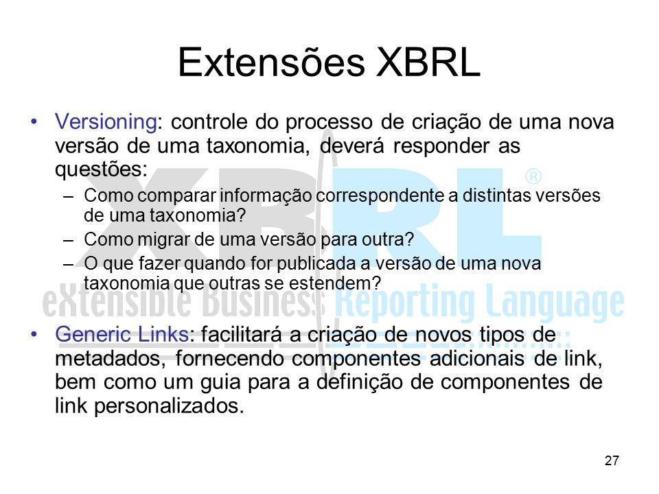 27 Extensões XBRL Versioning: controle do processo de criação de uma nova versão de uma taxonomia, deverá responder as questões: –Como comparar inform