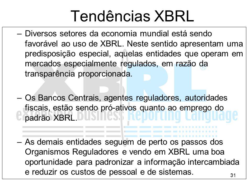 31 Tendências XBRL –Diversos setores da economia mundial está sendo favorável ao uso de XBRL. Neste sentido apresentam uma predisposição especial, aqu