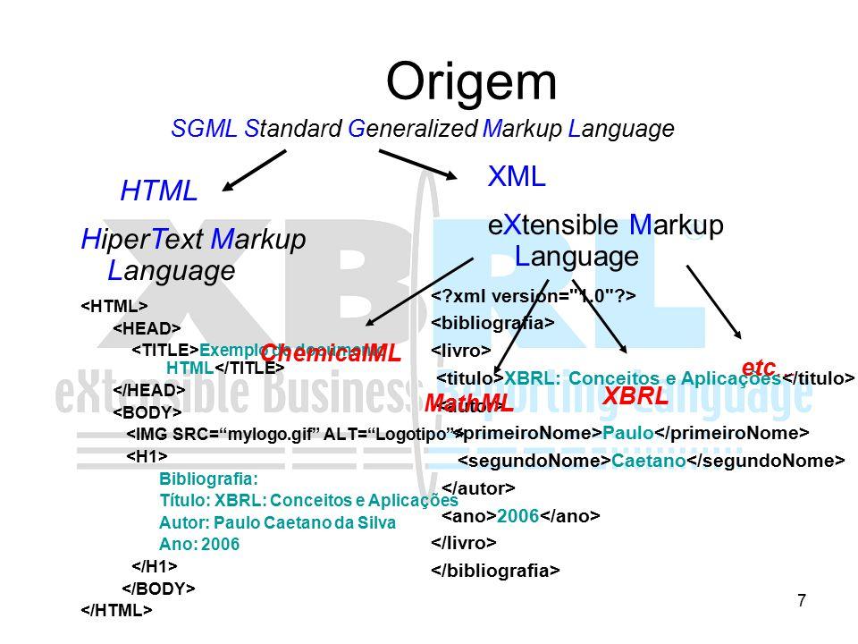 8 Histórico de XBRL 1998: Charles Hoffman / AICPA (American Institute of Certified Public Accountants) XFRML (eXtensible Financial Reporting Markup Language) Julho de 1999: Consórcio XBRL com 13 organizações Julho de 2000: Especificação XBRL 1.0 Dezembro de 2001: Especificação XBRL 2.0 – XML Schema e XML Link Dezembro 2003: Especificação XBRL 2.1