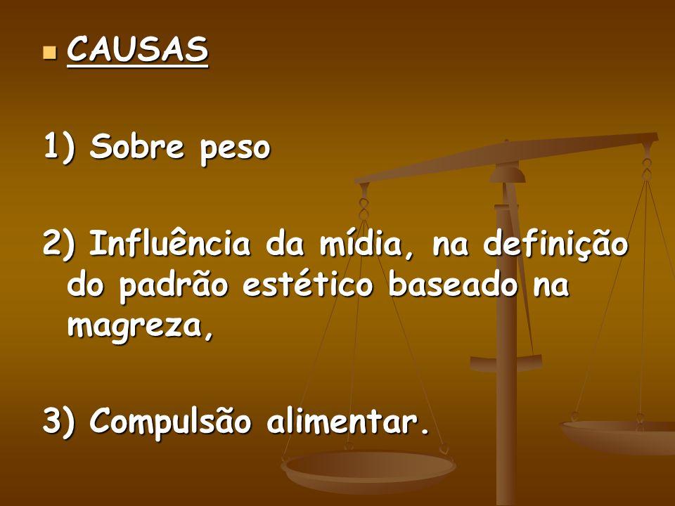 CAUSAS CAUSAS 1) Sobre peso 2) Influência da mídia, na definição do padrão estético baseado na magreza, 3) Compulsão alimentar.