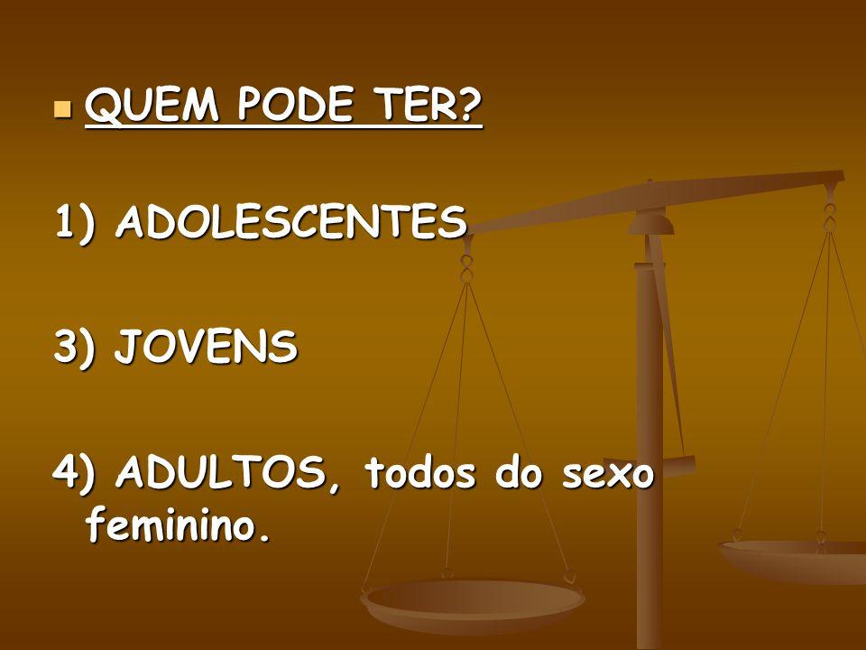 QUEM PODE TER? QUEM PODE TER? 1) ADOLESCENTES 3) JOVENS 4) ADULTOS, todos do sexo feminino.