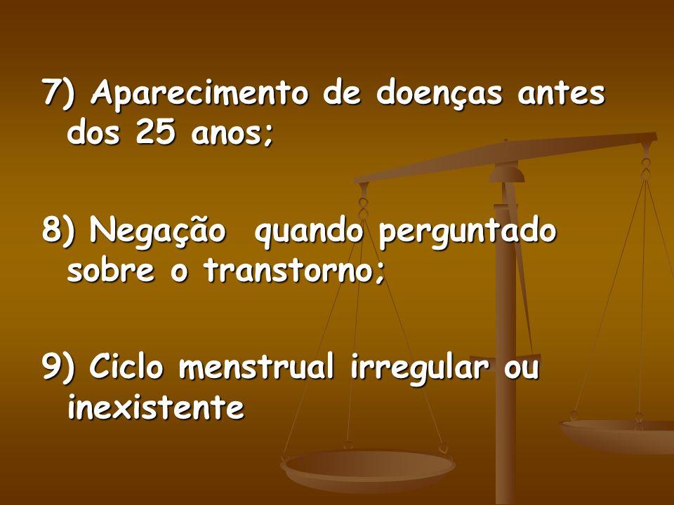 7) Aparecimento de doenças antes dos 25 anos; 8) Negação quando perguntado sobre o transtorno; 9) Ciclo menstrual irregular ou inexistente