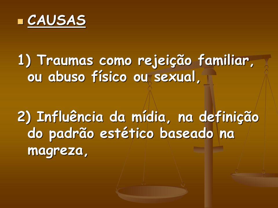 CAUSAS CAUSAS 1) Traumas como rejeição familiar, ou abuso físico ou sexual, 2) Influência da mídia, na definição do padrão estético baseado na magreza,