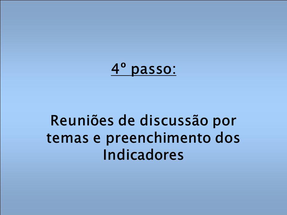 4º passo: Reuniões de discussão por temas e preenchimento dos Indicadores