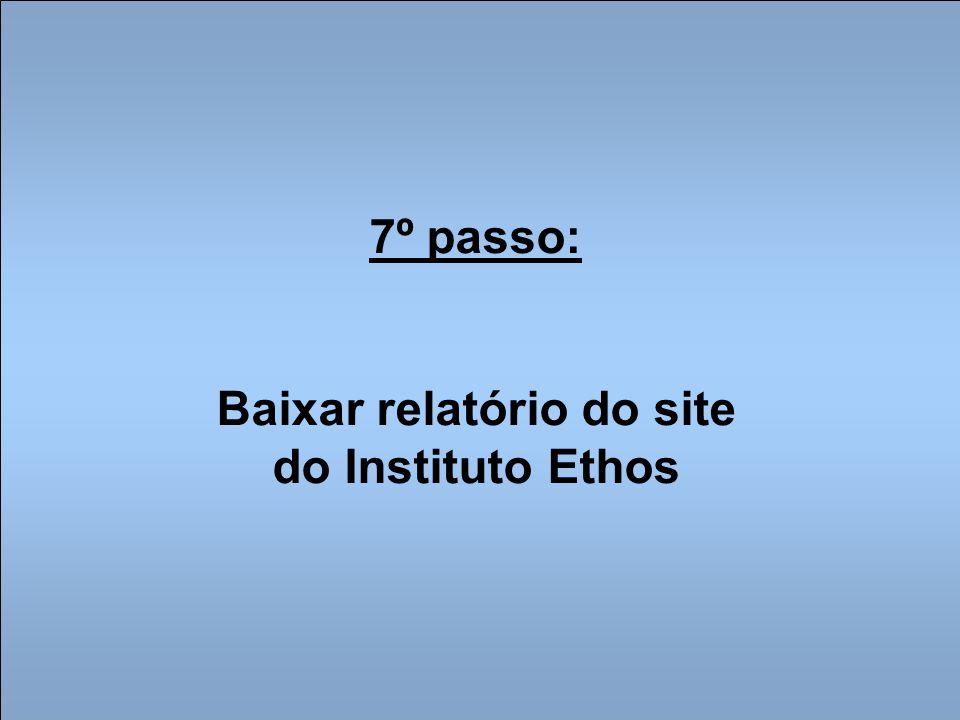 7º passo: Baixar relatório do site do Instituto Ethos