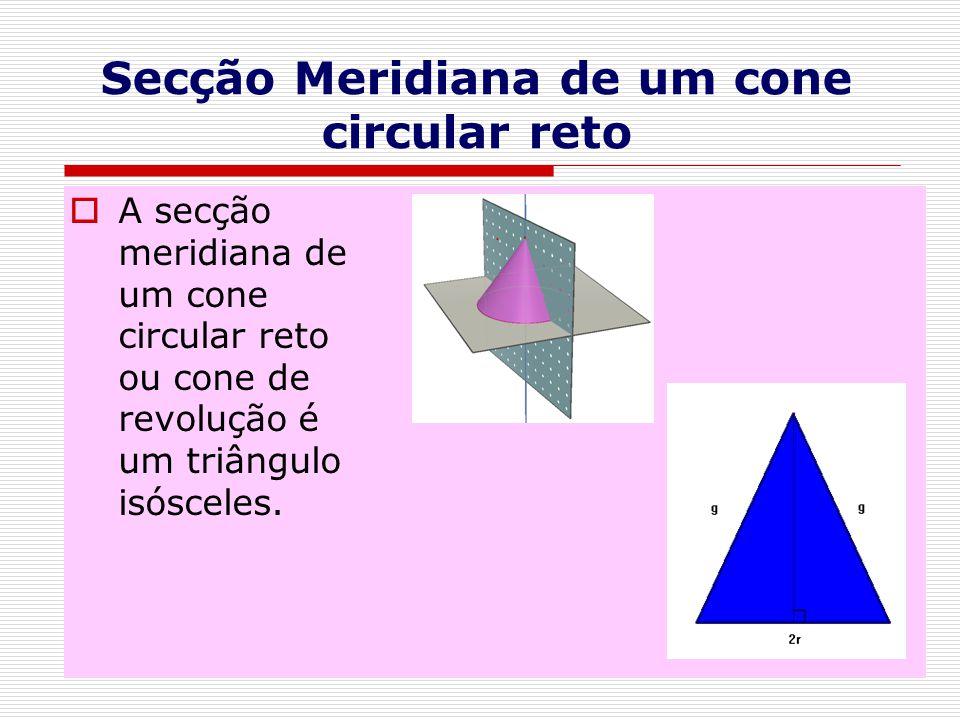 Secção Meridiana de um cone circular reto  A secção meridiana de um cone circular reto ou cone de revolução é um triângulo isósceles.