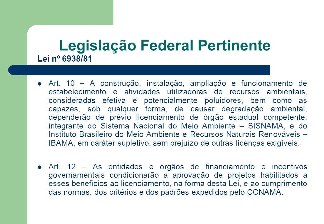 Legislação Federal Pertinente Lei nº 6938/81 Art. 10 – A construção, instalação, ampliação e funcionamento de estabelecimento e atividades utilizadora
