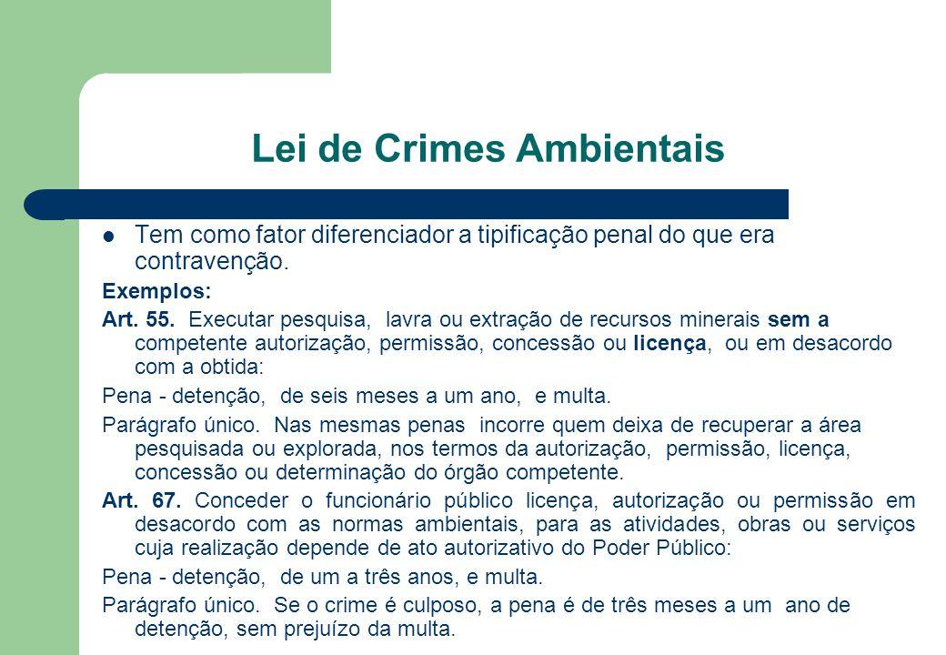 Lei de Crimes Ambientais Tem como fator diferenciador a tipificação penal do que era contravenção. Exemplos: Art. 55. Executar pesquisa, lavra ou extr