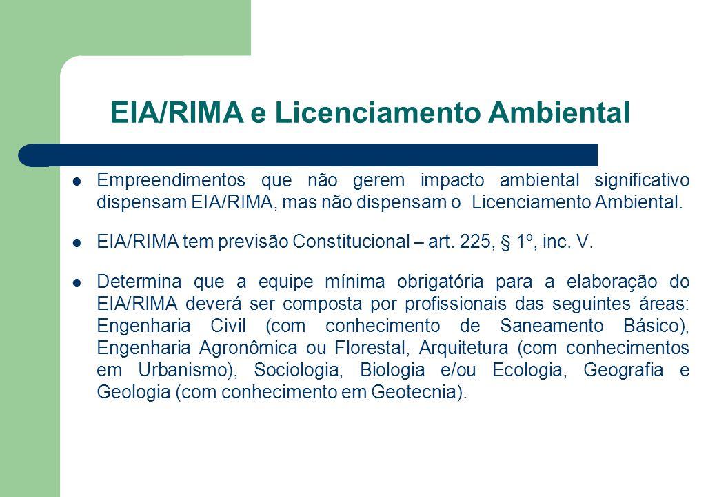EIA/RIMA e Licenciamento Ambiental Empreendimentos que não gerem impacto ambiental significativo dispensam EIA/RIMA, mas não dispensam o Licenciamento