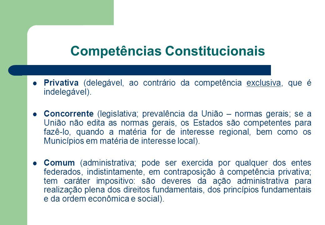 Competências Constitucionais Privativa (delegável, ao contrário da competência exclusiva, que é indelegável). Concorrente (legislativa; prevalência da