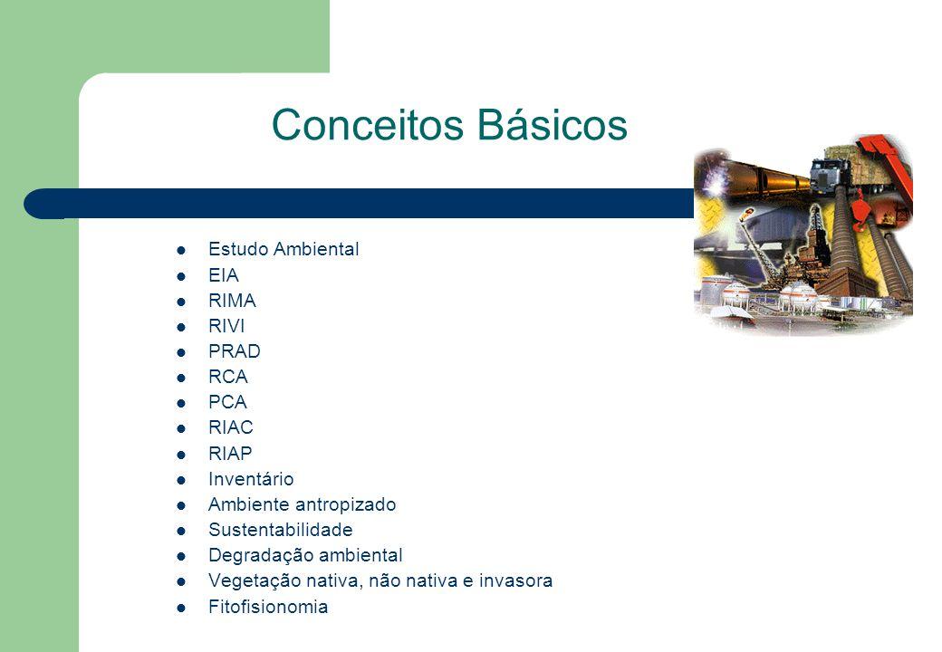 Conceitos Básicos Estudo Ambiental EIA RIMA RIVI PRAD RCA PCA RIAC RIAP Inventário Ambiente antropizado Sustentabilidade Degradação ambiental Vegetaçã
