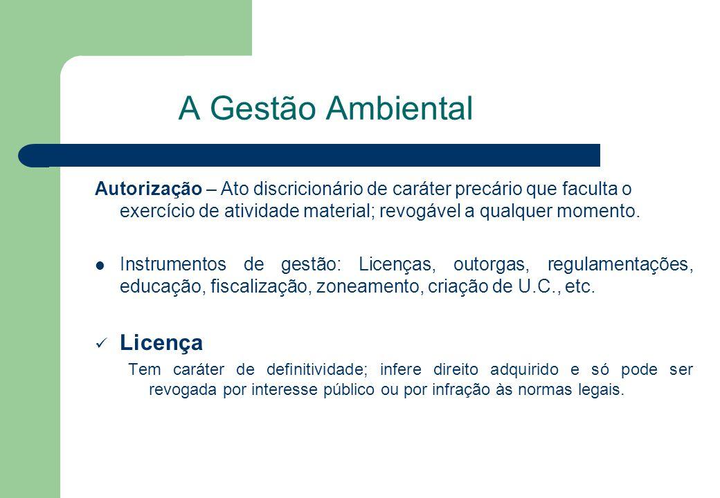 Licença Ambiental – maioria da doutrina assume como licença, não como autorização (não pode ser negada se satisfeitos todos os requisitos legais).