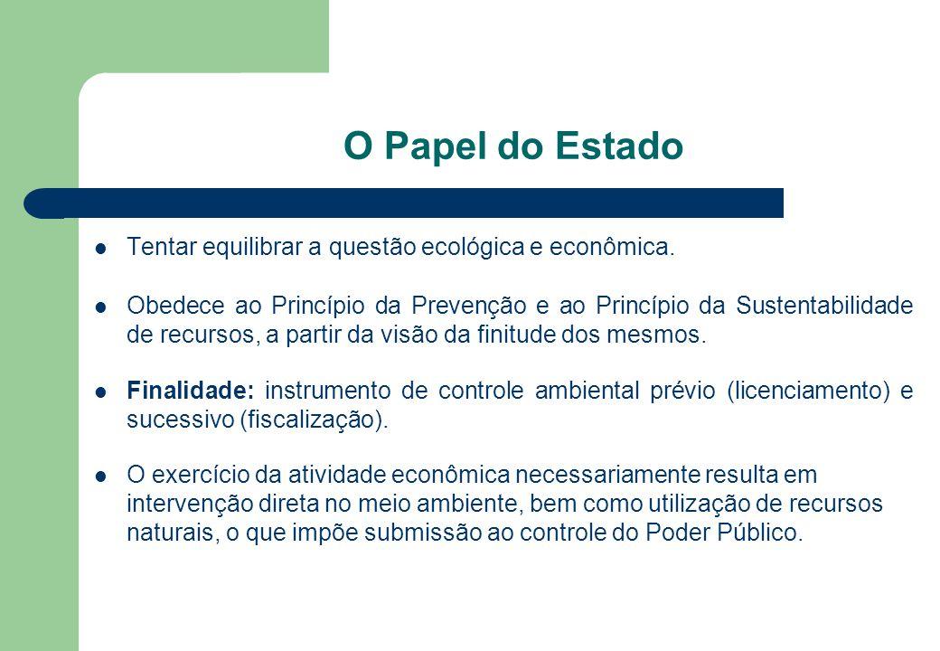 O Papel do Estado Tentar equilibrar a questão ecológica e econômica. Obedece ao Princípio da Prevenção e ao Princípio da Sustentabilidade de recursos,