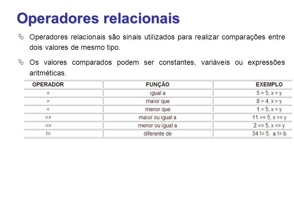 Operadores relacionais  Operadores relacionais são sinais utilizados para realizar comparações entre dois valores de mesmo tipo.  Os valores compara
