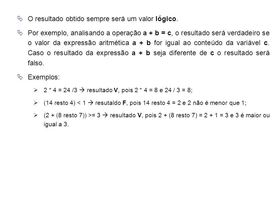  O resultado obtido sempre será um valor lógico.  Por exemplo, analisando a operação a + b = c, o resultado será verdadeiro se o valor da expressão