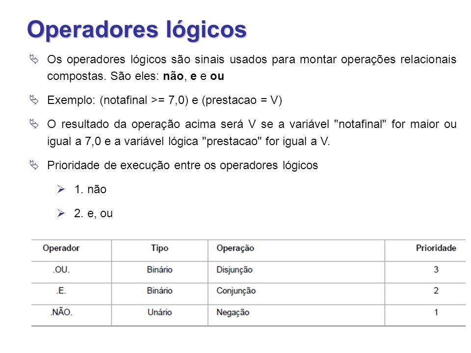 Operadores lógicos  Os operadores lógicos são sinais usados para montar operações relacionais compostas. São eles: não, e e ou  Exemplo: (notafinal
