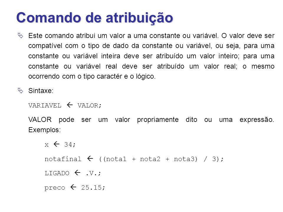 Comando de atribuição  Este comando atribui um valor a uma constante ou variável. O valor deve ser compatível com o tipo de dado da constante ou vari