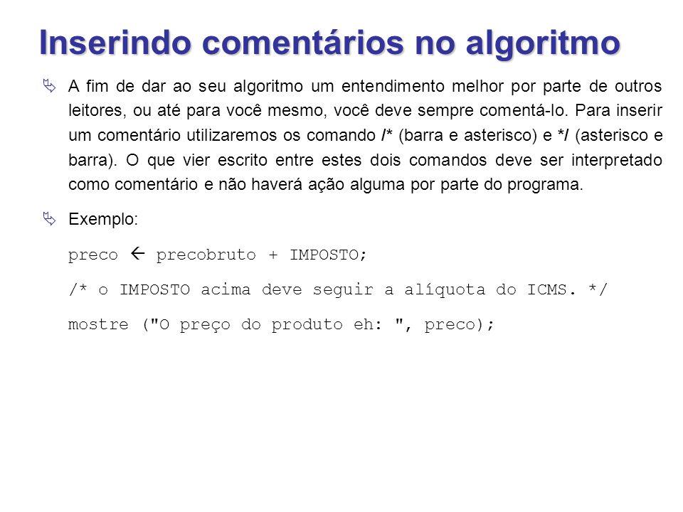 Inserindo comentários no algoritmo  A fim de dar ao seu algoritmo um entendimento melhor por parte de outros leitores, ou até para você mesmo, você d