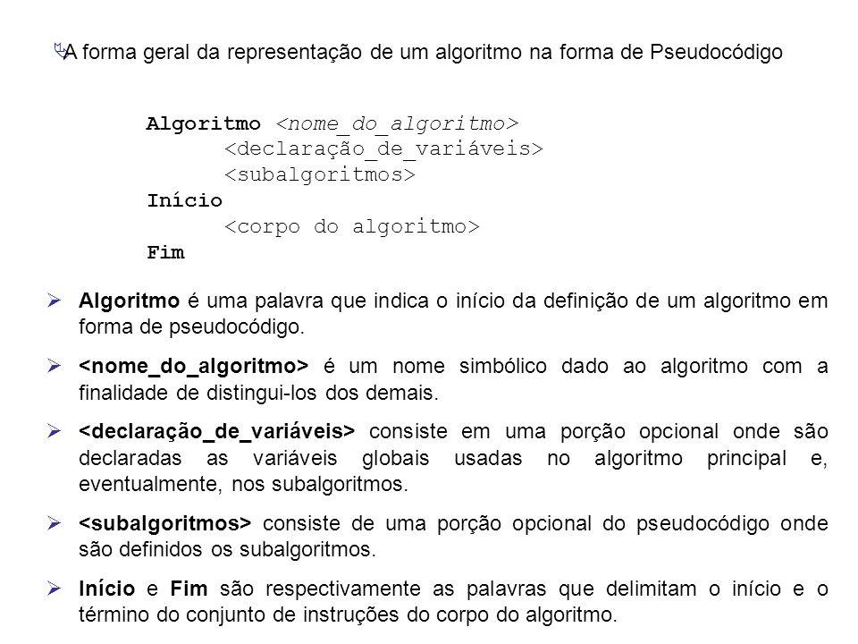 A forma geral da representação de um algoritmo na forma de Pseudocódigo Algoritmo Início Fim  Algoritmo é uma palavra que indica o início da defini
