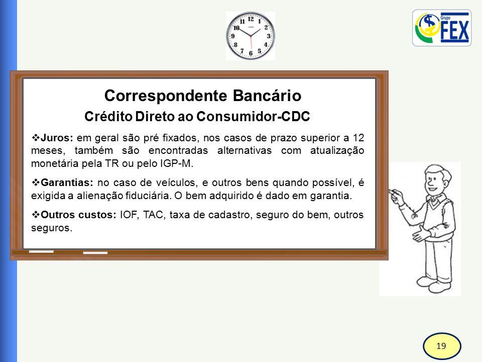 19 Correspondente Bancário Crédito Direto ao Consumidor-CDC  Juros: em geral são pré fixados, nos casos de prazo superior a 12 meses, também são enco