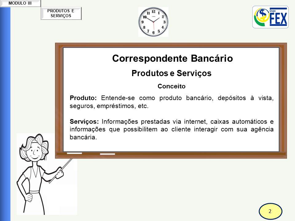 2 PRODUTOS E SERVIÇOS MODULO III Correspondente Bancário Produtos e Serviços Conceito Produto: Entende-se como produto bancário, depósitos à vista, se