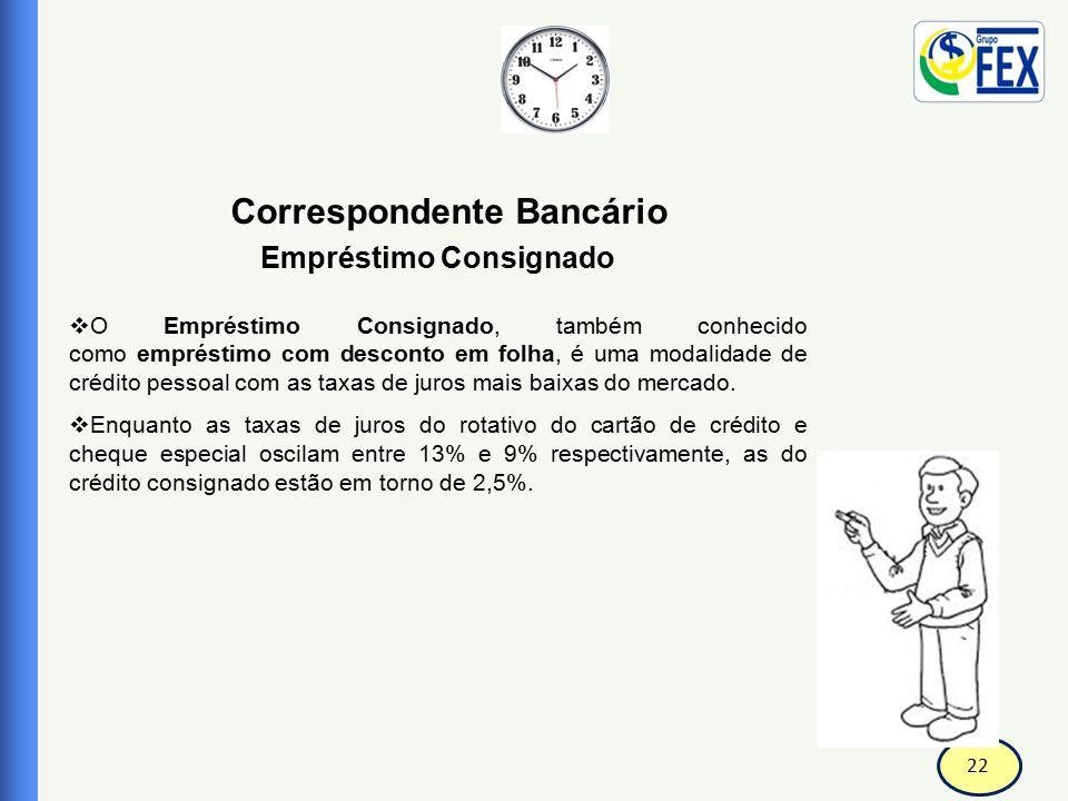 22 Correspondente Bancário Empréstimo Consignado  O Empréstimo Consignado, também conhecido como empréstimo com desconto em folha, é uma modalidade d