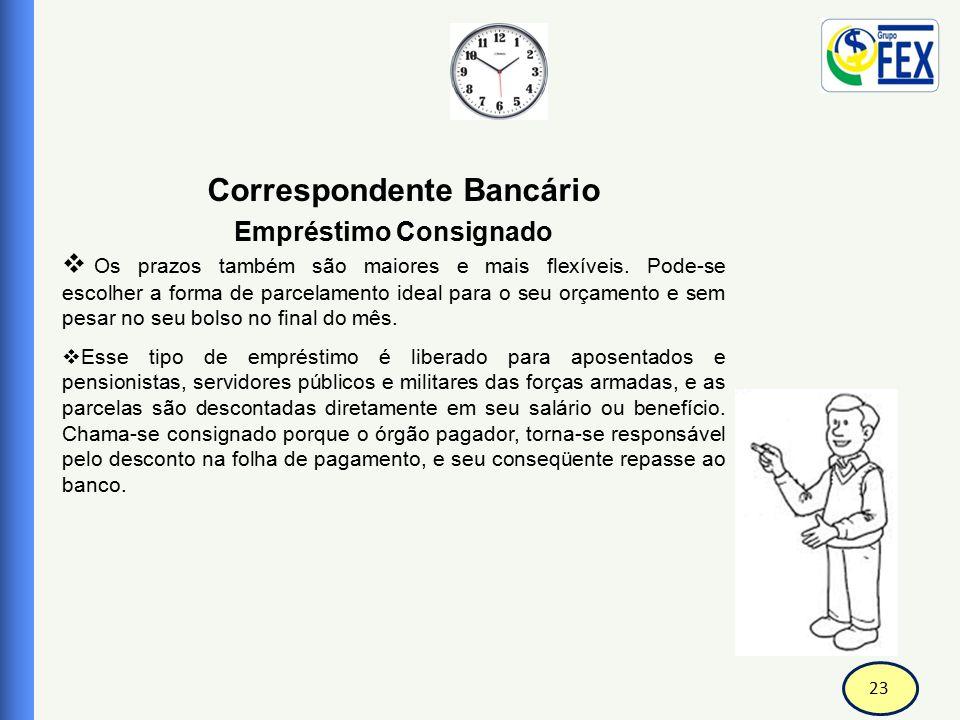 23 Correspondente Bancário Empréstimo Consignado  Os prazos também são maiores e mais flexíveis. Pode-se escolher a forma de parcelamento ideal para