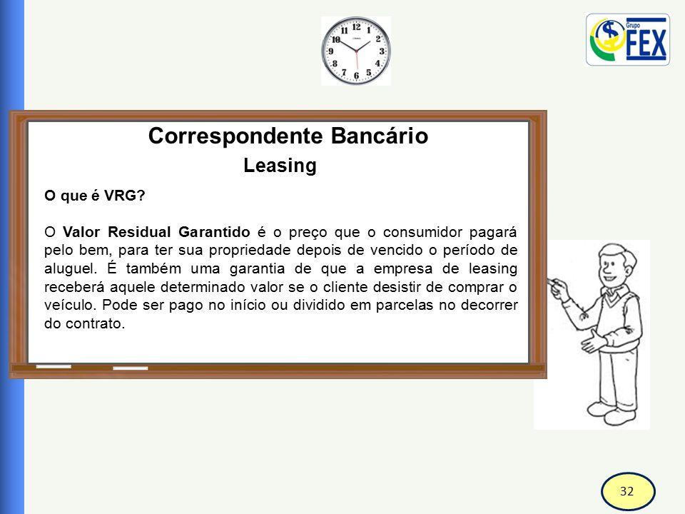 32 Correspondente Bancário Leasing O que é VRG? O Valor Residual Garantido é o preço que o consumidor pagará pelo bem, para ter sua propriedade depois