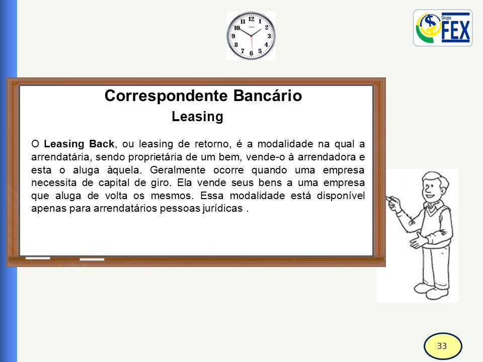 33 Correspondente Bancário Leasing O Leasing Back, ou leasing de retorno, é a modalidade na qual a arrendatária, sendo proprietária de um bem, vende-o