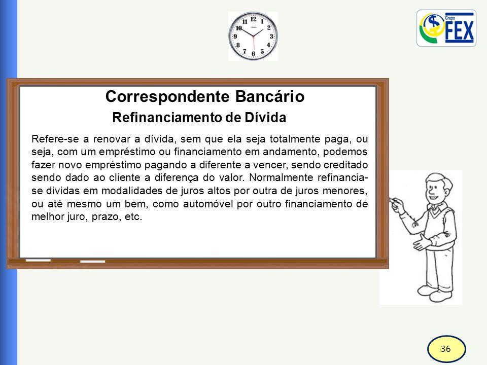 36 Correspondente Bancário Refinanciamento de Dívida Refere-se a renovar a dívida, sem que ela seja totalmente paga, ou seja, com um empréstimo ou fin