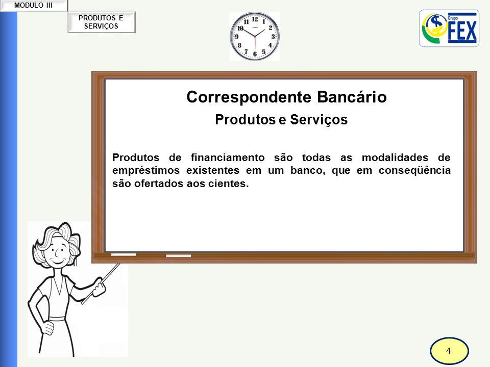 4 PRODUTOS E SERVIÇOS MODULO III Correspondente Bancário Produtos e Serviços Produtos de financiamento são todas as modalidades de empréstimos existentes em um banco, que em conseqüência são ofertados aos cientes.