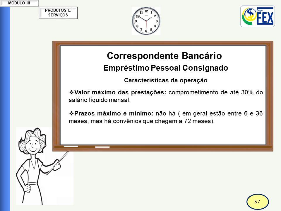 58 PRODUTOS E SERVIÇOS MODULO III Correspondente Bancário Empréstimo Pessoal Consignado Forma de pagamento: prestações iguais, mensais, prefixadas.