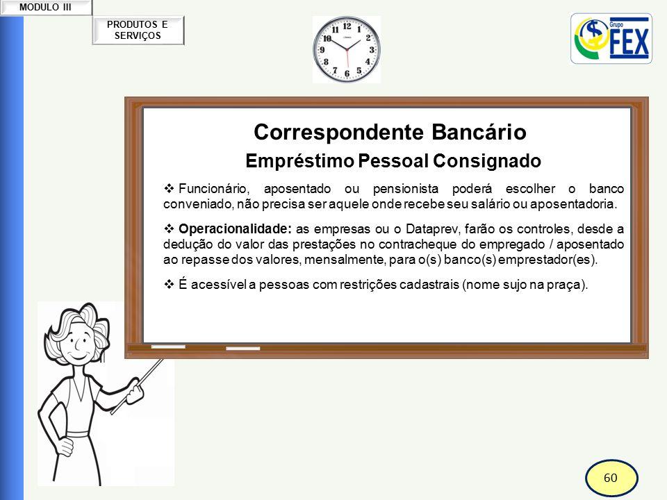 60 PRODUTOS E SERVIÇOS MODULO III Correspondente Bancário Empréstimo Pessoal Consignado  Funcionário, aposentado ou pensionista poderá escolher o ban