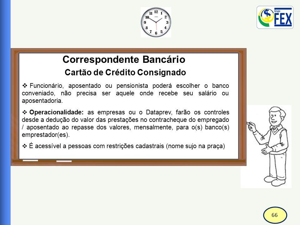 66 Correspondente Bancário Cartão de Crédito Consignado  Funcionário, aposentado ou pensionista poderá escolher o banco conveniado, não precisa ser a