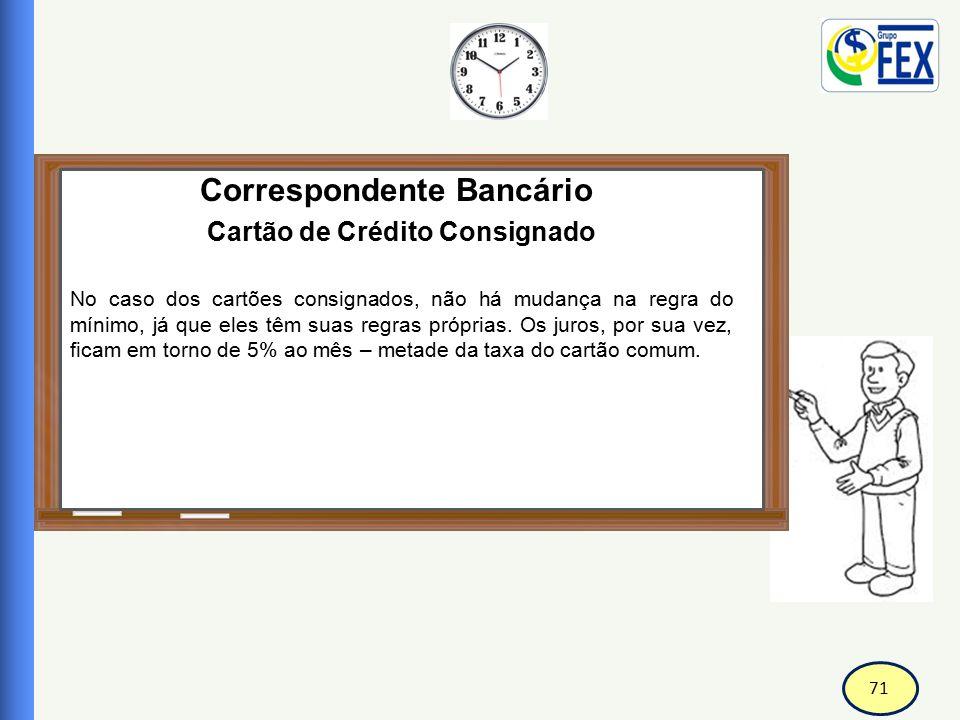 71 Correspondente Bancário Cartão de Crédito Consignado No caso dos cartões consignados, não há mudança na regra do mínimo, já que eles têm suas regra