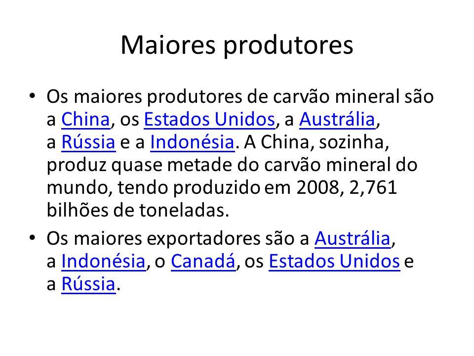 Maiores produtores Os maiores produtores de carvão mineral são a China, os Estados Unidos, a Austrália, a Rússia e a Indonésia. A China, sozinha, prod