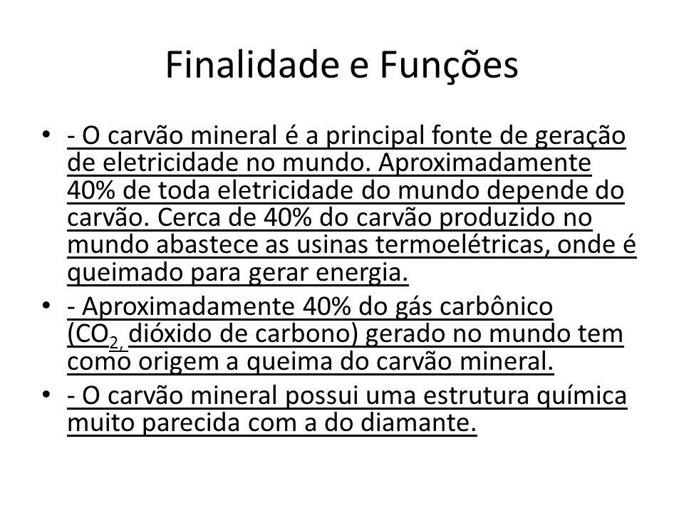 Finalidade e Funções - O carvão mineral é a principal fonte de geração de eletricidade no mundo. Aproximadamente 40% de toda eletricidade do mundo dep